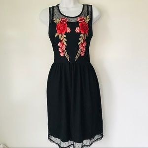 Rose Embroidered Black Dress w/ Layers